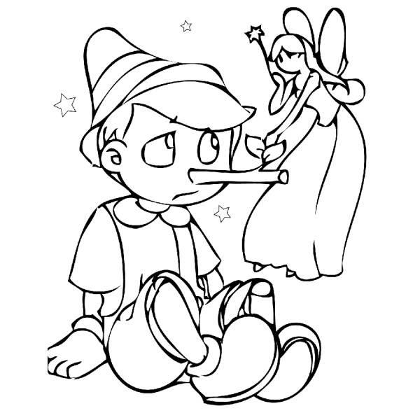 Disegno Di Pinocchio E La Fatina Da Colorare Per Bambini