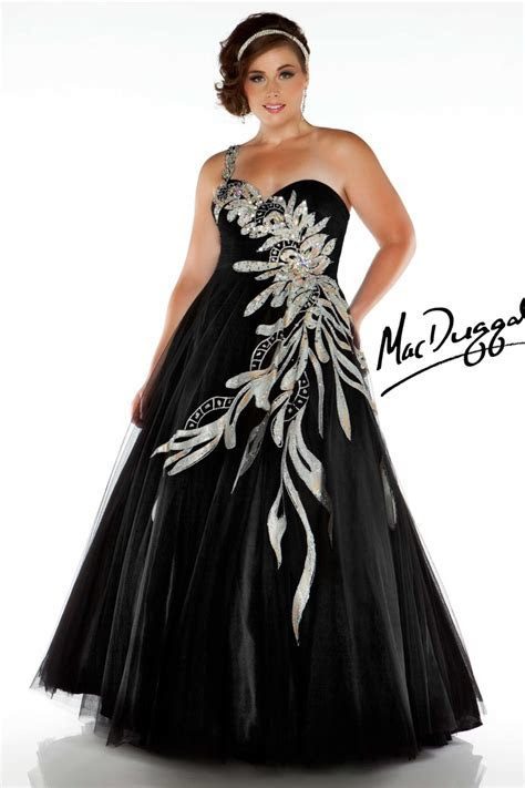 One Shoulder Black Plus Size Ball Gown   Mac Duggal 81851F