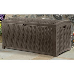 Suncast 99 Gallon Deck Garden Garage Home Wicker Resin Pool Box-Mocha (2 Pack)