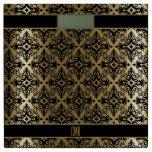 Monogram Gold & Black Damask Pattern Bathroom Scale