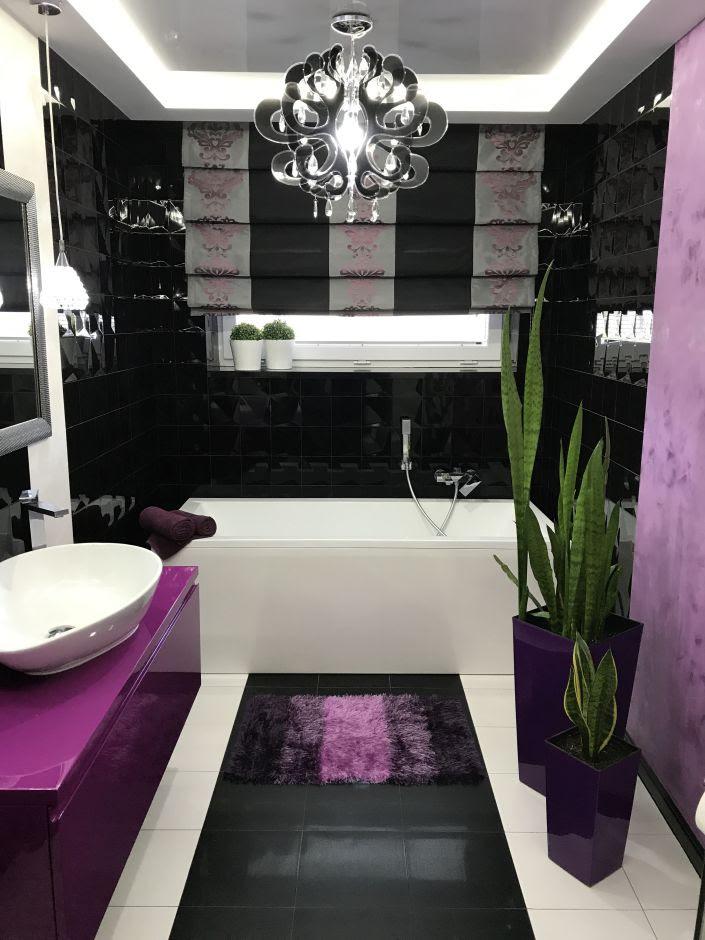 Łazienka w stylu nowoczesnym - galeria - Czarno-fioletowa ...