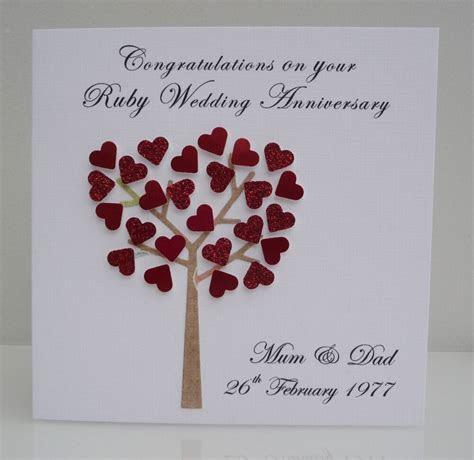 Personalised Ruby Wedding Anniversary Card   40 years