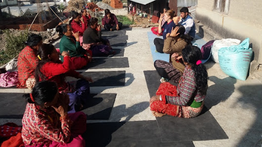 Yoga class provided to community women in Kavresthali - volunteeringnepal