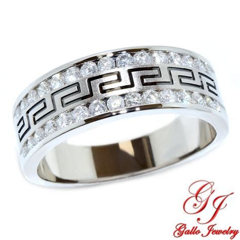 113050 men s diamond wedding band with greek key design 075ct