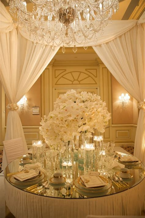 white and gold luxurious table setting   White   Gold