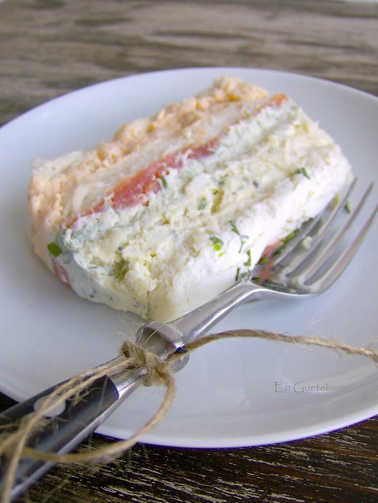 Trozo de pastel de salmón