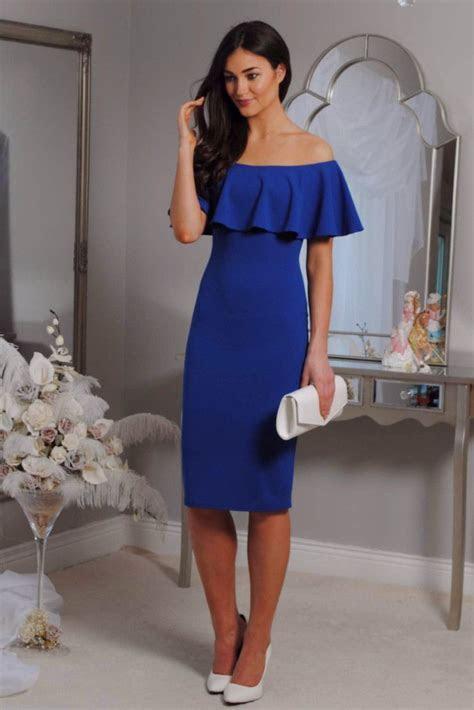 royal blue bodycon dress, off the shoulder, ruffle