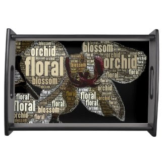 0rchid Floral Blossoom Word Cloud Black Background Service Trays