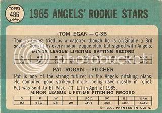 #486 Angels Rookie Stars: Tom Egan and Pat Rogan (back)