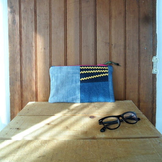 Zipper Pouch recycled denim patchwork ricrac lined by ddidit