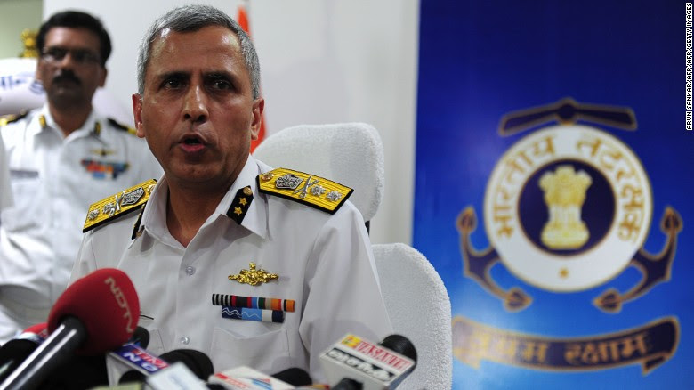 Inspector General Rajan Bargotra of the Indian Coast Guard briefs reporters on the search efforts.
