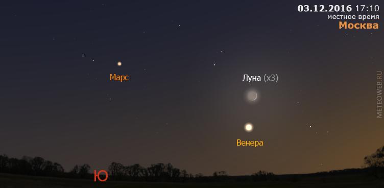 Растущая Луна, Венера и Марс на вечернем небе Москвы 3 декабря 2016 г.