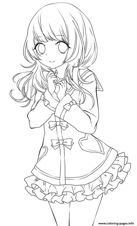 cute anime girl lineart  chifuyu san coloring pages