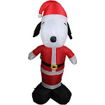 3.5' Inflatable Peanuts LED Lighted Snoopy Santa Claus Christmas Outdoor Decor by Christmas Central