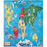 Melissa & Doug 33-Piece World Map Puzzle, 2' x 3'