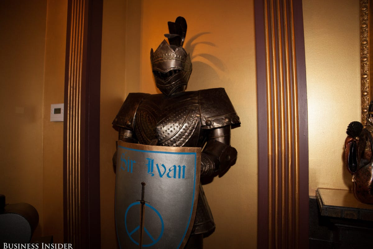 Sir Ivan even has a peace crest held by a knight's armor in his own bedroom.