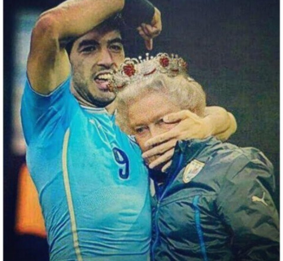 Royal blue: This picture has superimposed the Queen's head on to that of one of the Uruguay coaching staff, making it look as if Suarez has the monarch in a headlock