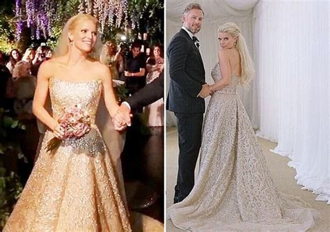Jessica Simpson chose a gold embellished strapless wedding