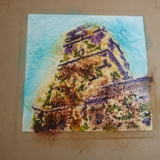 Church Tower painting -Is the universe conspiring against me? #4950Painting 13 - Cathy Read Art