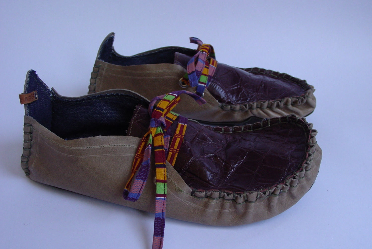 Custom Handmade Leather Moccasins Khaki bottoms Burgundy Embossed Leather tops