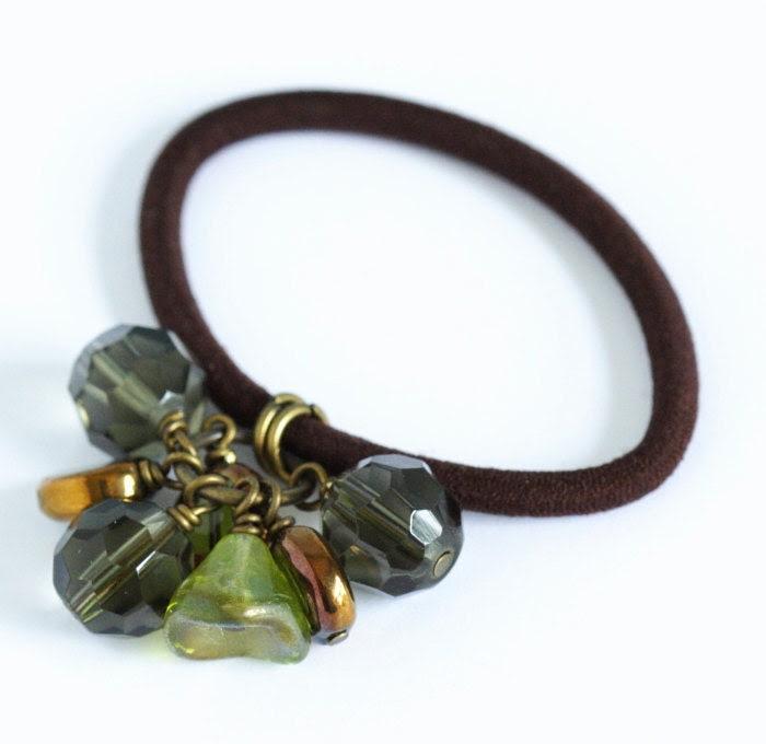 Beaded Hair Elastic - Deep Green