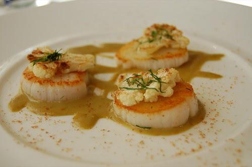 Sea scallops, caper-raisin emulsion, cauliflower