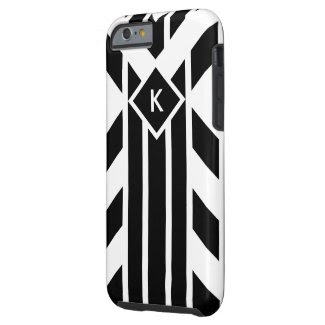 Black and White Fancy Stripes with Monogram Case Tough iPhone 6 Case