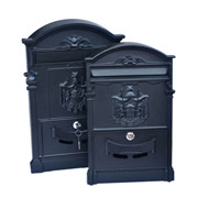Black die-cast aluminum mailbox secured with lock