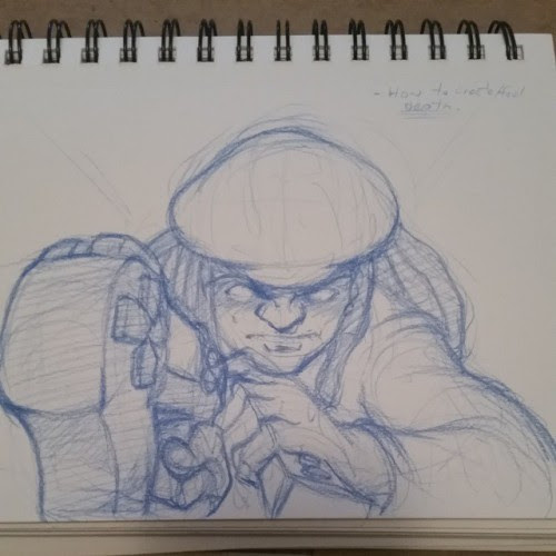 Working on a new streaming thumbnail. Might keep or scrap this base. #sketchavember