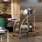 Furniture of America Rosina Contemporary Mirrored Rose Gold Serving Cart