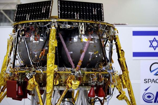 Another image of SpaceIL's lunar lander at its assembly facility in Israel.