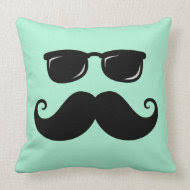 Funny mustache and sunglasses face mint green pillow