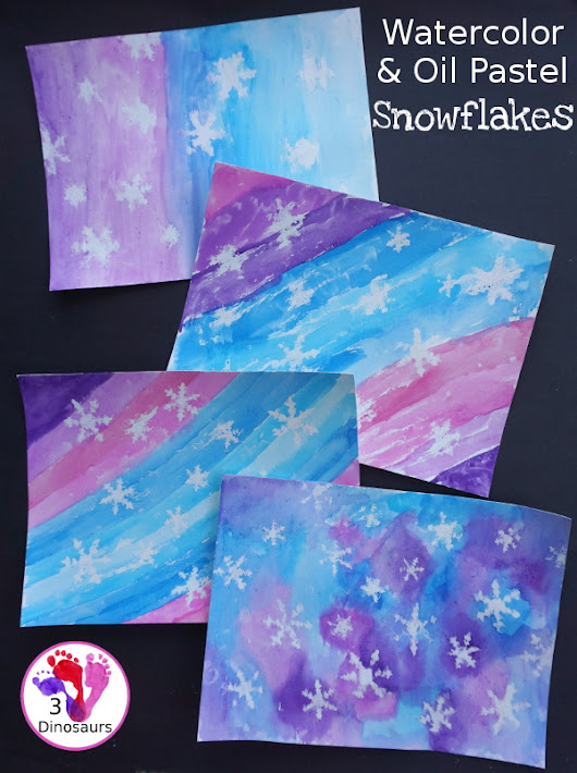 Watercolor & Oil Pastel Snowflakes Painting | 3 Dinosaurs