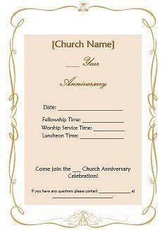 invitation for church anniversary sample   Google Search