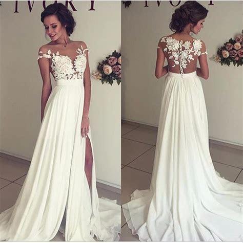 2018 Summer Chiffon Wedding Dresses Lace Top Short Sleeves