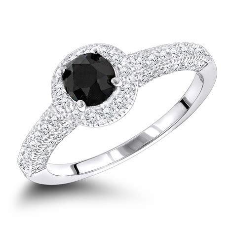 Black Diamond Engagement Rings: 14K Gold Ring 1.03ct