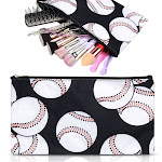 Zodaca Microfiber Fabric Cosmetic Bag, Cosmetic Bag, Softball Print for a business trip, camping, hiking, backpacking, travel and other outdoor