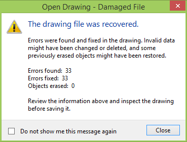 The drawing file was recovered.