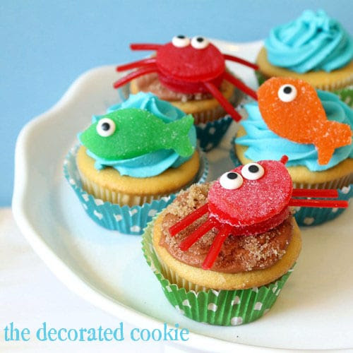 gumdrop fish and crab cupcake toppers for beach and summer | The ...