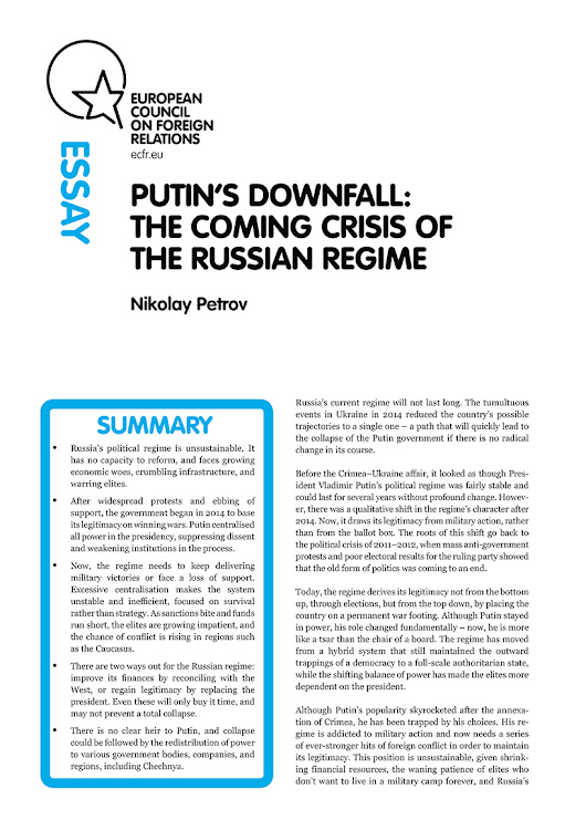 Putin's downfall: The coming crisis of the Russian regime