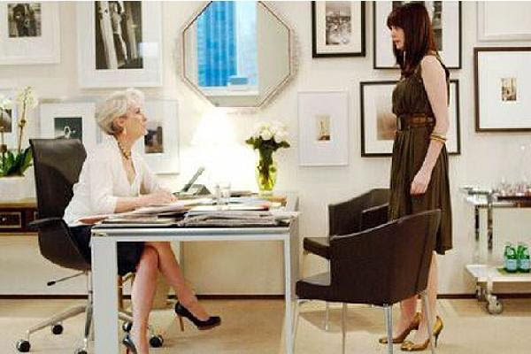 eliware: Devil Wears Prada Wall collage   desk, chair, mirror, photo gallery and bar cart.