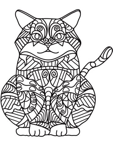 sitting cat zentangle coloring page  printable