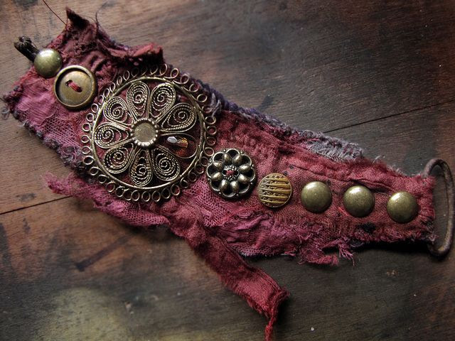 Sun Mandala - salvage textile wrist cuff with vintage metal components by Sparrowsalvage, via Flickr