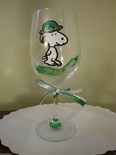 Snoopy St. Patrick's Day Hand Painted Wine Glass (12-oz Capacity)