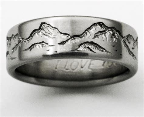 Montana 2 titanium ring with mountains   Titanium Wedding