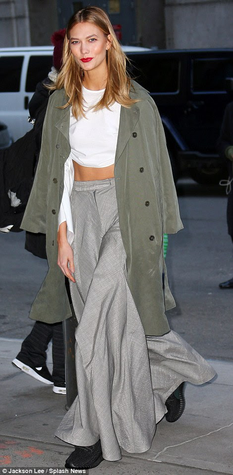 Star-studded: Celebrities including Karlie Kloss (pictured) and L'il Kim both showed up to support Kanye and see the show
