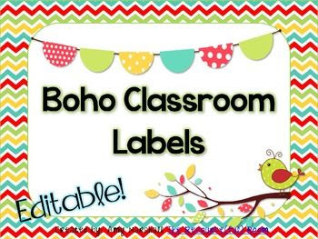 Editable Classroom Labels *Boho Theme   Computers, A well and Cute ...