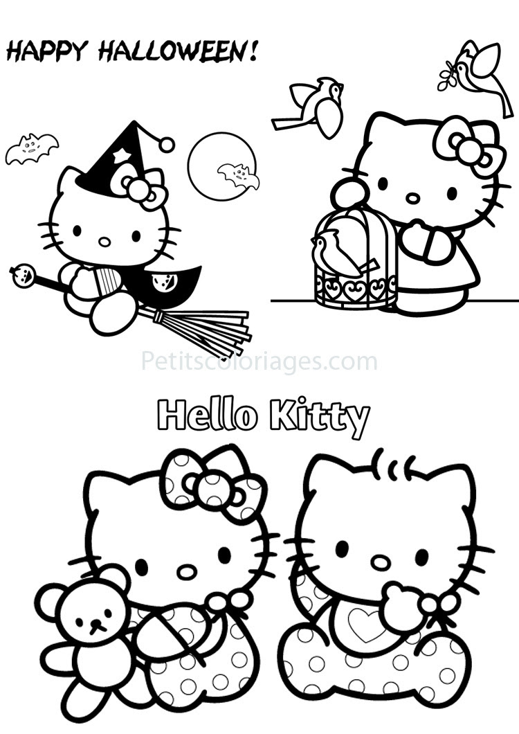 4 Coloriages Hello Kitty Halloweensorcièrebébéoiseaux Sur
