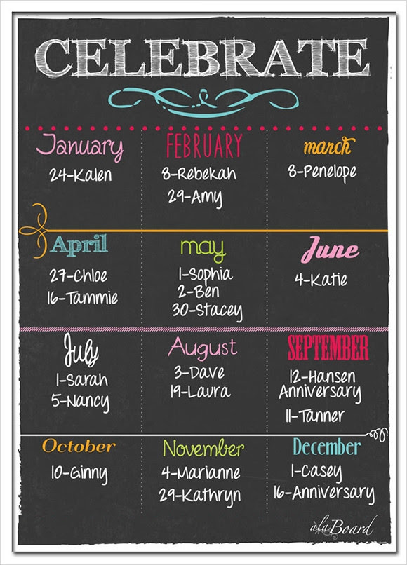 Sample Birthday Calendar Template - 13+ Documents in PDF, Word ...