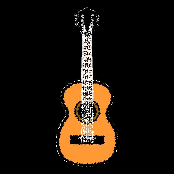 手書き風でかわいいアコースティックギターの無料イラスト商用フリー